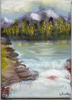 ACEO  Orig Art Canvas Oil painting Landscape Mountians Trees River Nova Hart #Realism