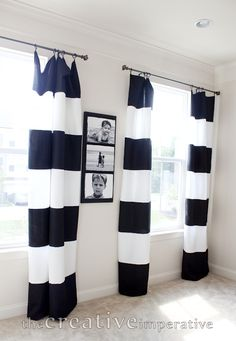 The Creative Imperative: Black and White Horizontal Striped Curtains {made from tablecloths} $6 per panel