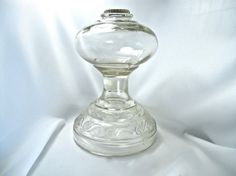 Antique Hurricane Lamp Base, Clear Molded or Pressed Glass, Circa 1900s, Excellent Condition by LostMarblesVintage, $75.00