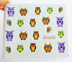 Owl,water decals,Nail stickers,Nail Decoration,Nail art,Nail Wraps,Owl Nails,Owl Decals,Colorful owls,Makeup cosmetics