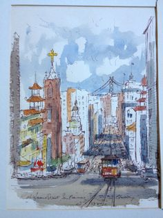 Mid Century Watercolor California Street San by Nichetique on Etsy, $225.00