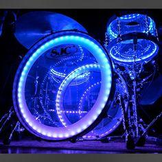 SJC Custom 12/16/22 3pc Clear Acrylic Kit w/ Wood Hoops and LED Lighting