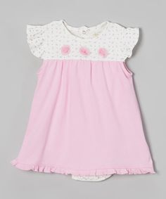 Love this Pink & White Floral Skirted Bodysuit by trés beau&belle Layette  on #zulily! #zulilyfinds