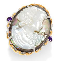 161-140 - Gems en Vogue 35 x 26mm Carved Mother-of-Pearl Portrait Cameo & Amethyst Ring