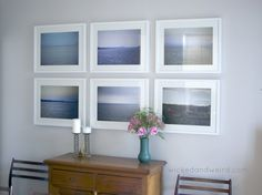simple soothing dining room photo wall