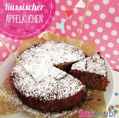 Russischer Apfelkuchen - BackGAUDI - Recipes - Cakes, Cupcakes, etc - Cake Toppers! Doughnut, Muffin, Sweets, Breakfast, Desserts, Soviet Union, Russia, Cupcakes, Apple