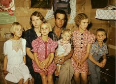 Vintage photo of farm family ... children wearing feedsack clothes .. so cute!