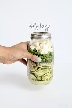 I am so not into this stupid hipster salad in a Mason Jar trend, BUT, this sounds like an excellent flavour combo!  Zucchini Noodle Salads