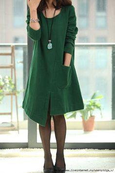 Asymmetric Spring Coat long sleeved dress by MaLieb Mode Style, Style Me, Fashion Moda, Womens Fashion, Mode Alternative, Inspiration Mode, Linen Dresses, Looks Cool, Women's Fashion Dresses