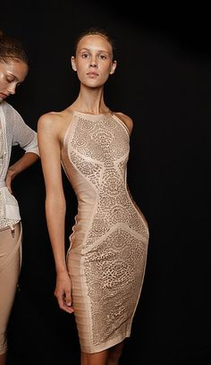 #Herve_Leger dress | #Neutral colour tones | #New_York_Fashion_Week | #Spring_2011