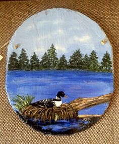 Hand+Painted+Maine+Lake+With+Loon+Signed+Wall+Hanging+Folk+Art+On+Rock+Slab+#OneofaKind
