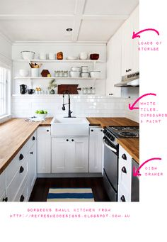 small kitchen ideas  -- lovely! and I really love a dish drawer instead of a cabinet... much easier for us short people :)