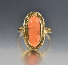 Antique Gold Victorian Coral Cameo Ring
