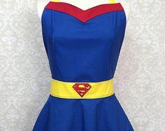 Apron superhero apron adult no ruffles on men's apron by SMPstore