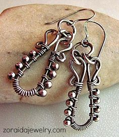 Sterling Bead and Wire Wrapped Earrings | zoraida - Jewelry on ArtFire