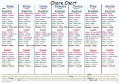 Sunday March 28 2010 Adult Chore Chart Family Charts
