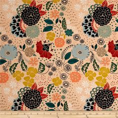 Designed by Maureen Cracknell for Art Gallery Fabrics, this cotton print is perfect for quilting, apparel and home decor accents. Art Gallery Fabric features 200 thread count of finely woven cotton. This floral collection is a mix between bohemian and romanticism with vibrant colors that are sure to be a show stopper.  Colors include navy blue, rust, turquoise, green, orange, grey, light blue, gold, peach, coral and white.