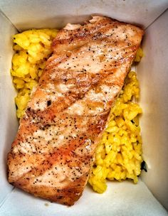 """""""""""I love, love, love salmon! Great source of omega-3s, and it tastes even better coupled with one cup of risotto.""""""""; Food Diaries: A Personal Trainer Who Eats 6 Meals a Day 