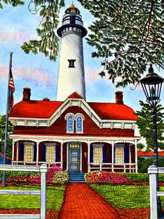 Winter Gallery - Artist Thelma Winter - Saint Simons Island Lighthouse - Georgia (Powered by CubeCart) Kitsch, Lighthouse Painting, One Stroke Painting, Painting Art, St Simons Island, Cottage In The Woods, Beacon Of Light, House Landscape, Winter Art