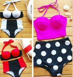 My goal to find for a bathing suit!  #highwaisted #swimwear #cute