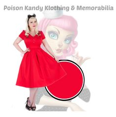 Ladies Dress - Hearts & Roses Plain Red Swing Dress – PoisonKandyKlothing