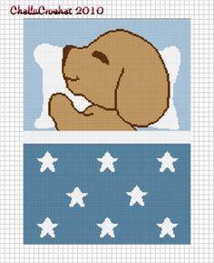 Sleeping Puppy Stars Blue Boys Baby Afghan Crochet Pattern Graph | chellacrochet - Patterns on ArtFire