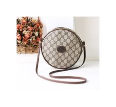 Gucci Bag Vintage Monogram Brown Round Shoulder Handbag Purse Authentic Rare by hfvin on Etsy  #gucci #round #monogram #brown #shoulderbag #hfvin