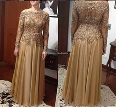Gold Lace Bead Mother of the Bride Dresses Mother of Groom Dress Plus Size Long Sleeves Scoop Evening Party Gowns Mother Of The Bride Plus Size, Mother Of The Bride Dresses Long, Mother Of Bride Outfits, Mothers Dresses, Mother Bride, Bride Groom Dress, Groom Outfit, Bride Gowns, Bride Suit