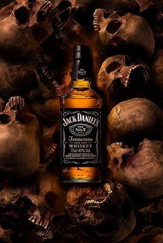 A Jack Daniel's bottle rising from the skull Bebidas Jack Daniels, Jack Daniels Drinks, Jack Daniels Logo, Jack Daniels Bottle, Whiskey Sour, Cigars And Whiskey, Scotch Whiskey, Whiskey Girl, Jack Daniels Wallpaper