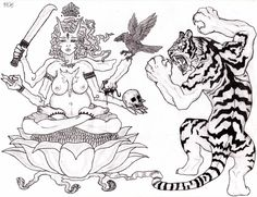 Kali and the dance of tiger, black and white, animal, god, hindu, hinduism, sacred animal, power, energy, chakra