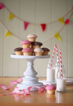 cute vintage cupcakes with milk  food photography  by Hannah Blackmore Photography