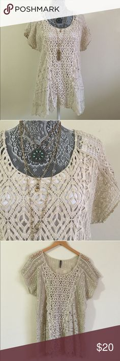 "BOHO Crochet Top Beautiful BOHO lace and crochet detailed top. Wear it as a swimsuit coverup or a top/tunic with your favorite camisole. Approximate measures 29"" long and 21"" from pit to pit. No holds. No trades. No modeling. No lowball offers. XCVI Tops"