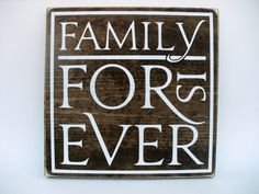 Rustic Wood Sign Wall Hanging Home Decor - Family is Forever ( Family Wood Signs, Family Name Signs, Rustic Wood Signs, Wooden Signs, Families Are Forever, Solid Pine, Rustic Charm, Dark Wood, Wall Signs