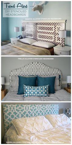 See three gorgeous DIY Stenciled headboards using Cutting Edge Stencils. www.cuttingedgestencils.com