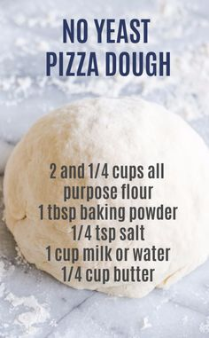 NO YEAST NEEDED! This quick and easy pizza dough recipe comes together start to finish in 20 minutes! NO YEAST NEEDED! This quick and easy pizza dough recipe comes together start to finish in 20 minutes! No Yeast Pizza Dough, Easy Pizza Dough Recipe, Self Rising Pizza Dough Recipe, Pizza Crust Without Yeast, Pizza Dough Recipes, Recipes With Biscuit Dough, Naan Bread Recipe No Yeast, Recipes With Milk, Pizza Dough Bread Machine