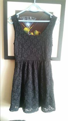Black eyelet lace sz medium tank dress. Has belt loops!