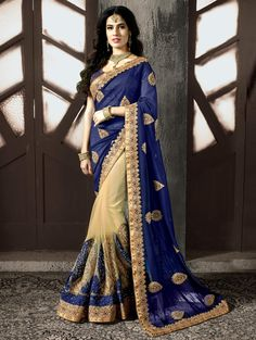 Buy Pink and Cream Georgette Saree with Embroidery Work online at Best Price for Women - SAAA13288 - Saree.com