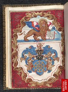 The Lion of Venice (and St Mark) on the frontispiece of an Italian book, 1645; made as a commission by the doge of Venice to Antonio Molino; inscribed 'Pax tibi Marce Evangelista meus'; below, the heraldic device of Molino; Egerton 759, f.1v. (British Library)