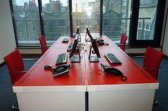 Customised red hot cardboard office desks