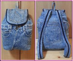 Love Jeans, Denim Jeans, Jean Backpack, Applique, Creations, Backpacks, Crochet, How To Make, Bags