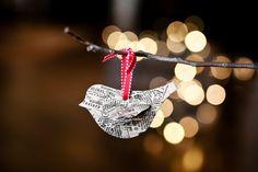 Newsprint Small Bird Ornament by tuckandbonte on Etsy