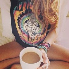 graphic tees and coffee