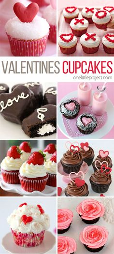 Valentine's Day Cupcake Ideas - This collection is completely ADORABLE! There's something for every skill level, no matter how much time you have! Valentines day cupcake ideas, valentines day cupcakes for kids Valentine Desserts, Valentines Day Food, Valentines Baking, Valentine Day Cupcakes, Valentine Treats, Holiday Treats, Holiday Recipes, Party Cupcakes, Valentines Recipes