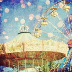 Original signed Fine Art Photograph of a vintage carnival ride with the Ferris Wheel. Title-Too Much Fun, by honeytree, etsy.