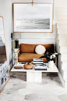 My New Studio: A Personal Tour – Kara Rosenlund Turbulence Deco, News Studio, House Goals, Living Area, Living Rooms, Living Room Decor, Travertine, Contemporary Interior Design, Interior Design Kitchen