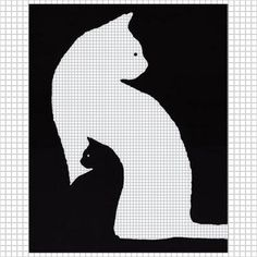 KITTEN BLACK WHITE CAT CROCHET PATTERN GRAPH AFGHAN CROSS STITCH .PDF | CozyConcepts - Patterns on ArtFire