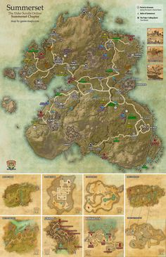 Summerset zone map for The Elder Scrolls Online: Summerset. Delves, World Bosses, Quest Hubs and Skyshards in Summerset. The land called Summerset is the birthplace of civilization and magic as we know it in Tamriel. On its idyllic sea-kissed shores live the Altmer, the High Elves. Shimmerene, Alinor, Lillandril, Sunhold, Cloudrest