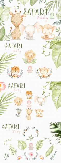 Lion Cub, Tiger Cub, Giraffe, Elephant, Jungle Safari, Watercolor Animals, Baby Design, Baby Animals, Nursery Decor
