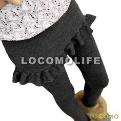 Women Skirt Attached Peplum Ruffle Legging Dark Gray