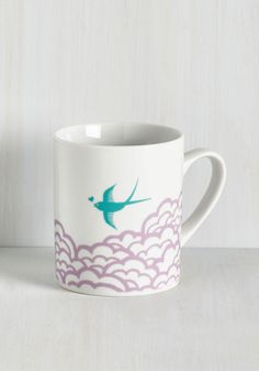 Earth the Wait Mug in Bird. After searching the sea and sky for decor as charming as this white mug, youve found it at long last! #multi #modcloth